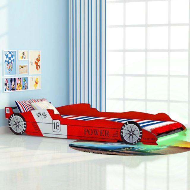 Esthetique Mobilier pour bébés et tout-petits collection Amman Lit voiture de course pour enfants avec LED 90 x 200 cm R