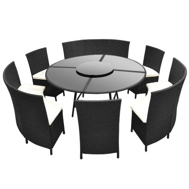 Casasmart - Salon de jardin rond polyrotin noir 12 places ...