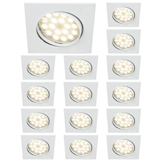 Lampesecoenergie Lot De 15 Spot Encastrable Orientable Led Carre Gu10 230V eq. 50W Blanc Neutre
