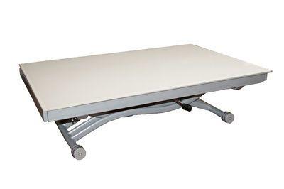 Giovanni   Table Basse Relevable Zen Blanc 120cm X 35cm X 80cm