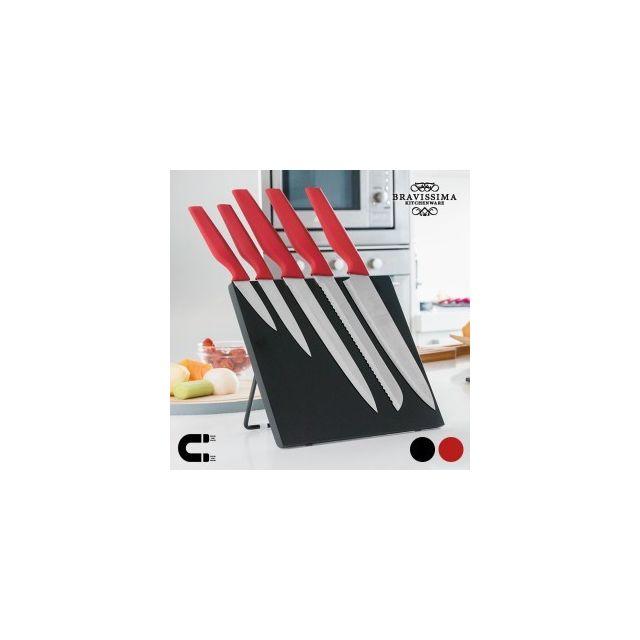 Exclusif Shopping Vip Couteaux avec Support Magnétique Bravissima Kitchen 6 pièces, Couleur Noir