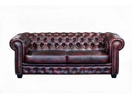 LINEA SOFA Canapé chesterfield 3 places BRENTON 100% cuir de buffle - Cherry