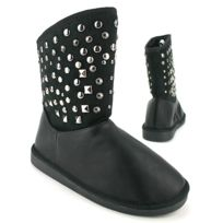 Cendriyon - Bottines Noires Fourrées Ugca Clous Rivets