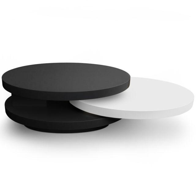 MENZZO Table basse plateaux tournants Gala Laqué Noir et Blanc