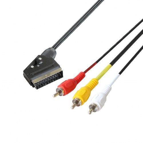 POSS Câble péritel M à 3XRCA-M - PSVID06 - Noir