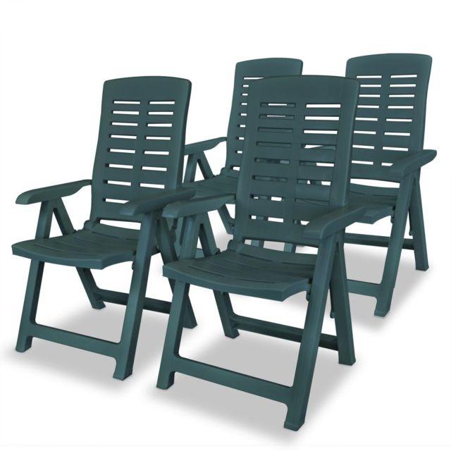 Vidaxl Chaise Inclinable De Jardin 4 Pcs 60x61x108 Cm Plastique