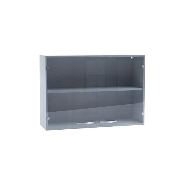 Meuble haut de cuisine 2 portes transparentes 100cm - coloris gris brillant