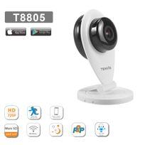 Tenvis - T8805 Caméra Ip Wifi en HD 720p H264 avec application mobile et notice en français Installation Simple P2P - Alarme avec Détection de mouvement et alerte - Vision nocture Son bidirectionnel Onvif