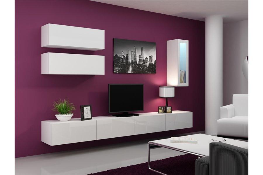 Meuble tv design suspendu BINI - blanc