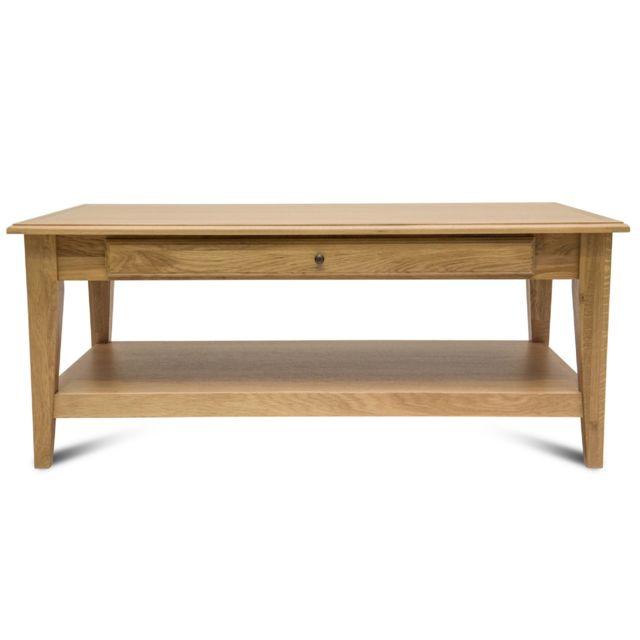 8425f95b88b12 HELLIN - Table basse en chêne Victoria 1 tiroir pieds fuselés - bois noir  patiné