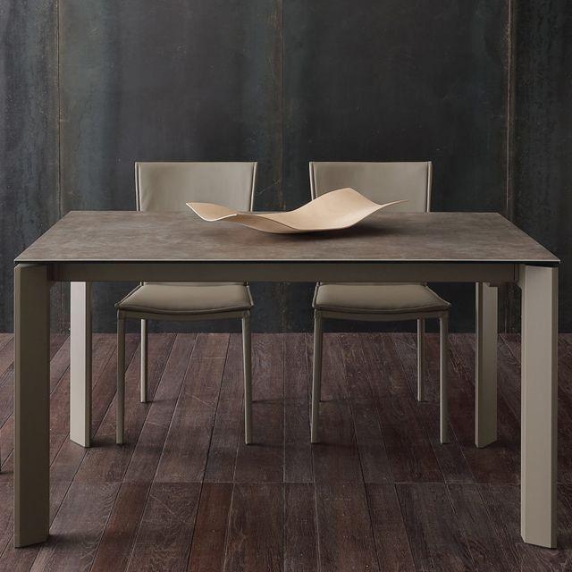 Nouvomeuble Table avec rallonges 10 personnes en céramique taupe Eva