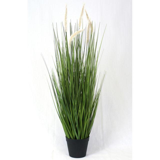 Pegane Plante artificielle Herbe verte graminé - Hauteur 100 cm