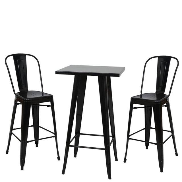 decoshop26 ensemble table haute avec 2 tabourets de bar en mtal noir style industriel tab04009 - Table Bar Industriel