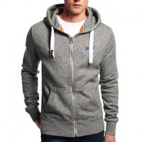 Superdry - Veste à Capuche Gris Orange Label Ziphood Homme