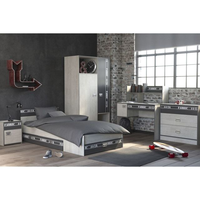 Altobuy - Industria - Chambre Complète 90x200cm Gris - pas cher ...