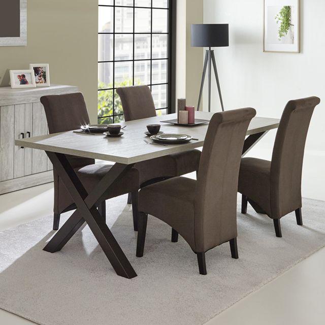 Sofamobili Table à manger contemporaine couleur bois Kelia