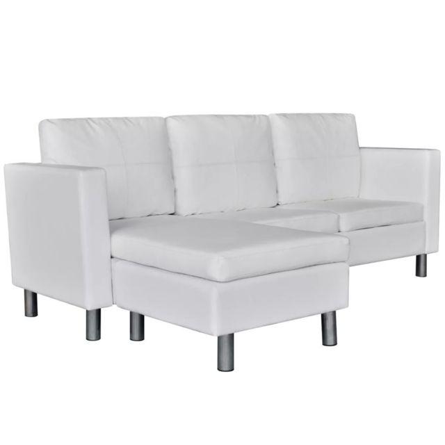 ICAVERNE Canapés gamme Canapé sectionnel à 3 places Cuir synthétique Blanc