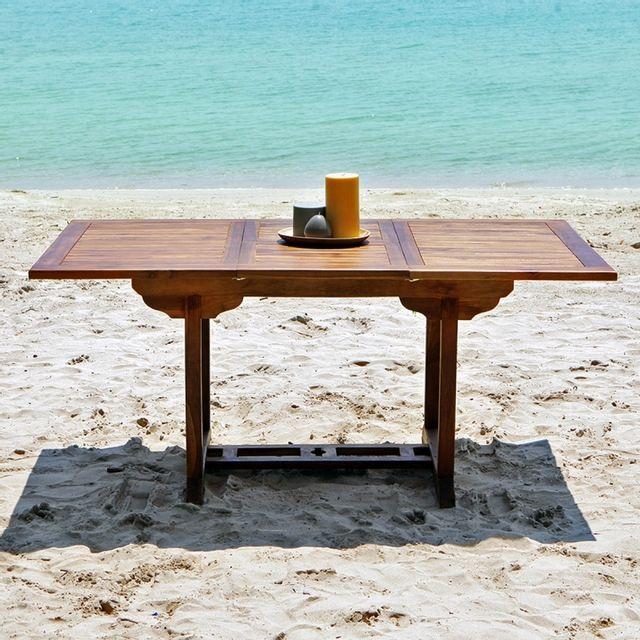 bois dessus bois dessous table de jardin en bois de teck avec rallonge 6 8 places pas cher. Black Bedroom Furniture Sets. Home Design Ideas