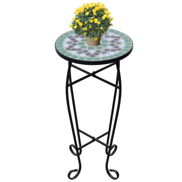 Rocambolesk Superbe Table d'appoint Mosaïque Vert et Blanc Neuf