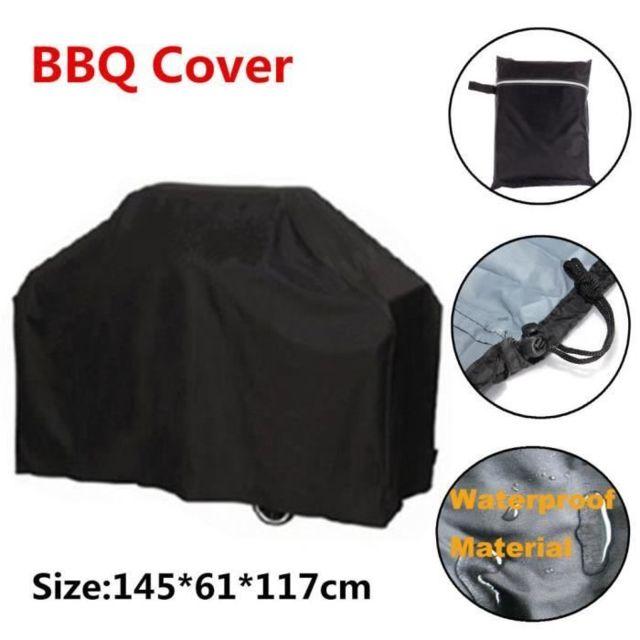 Housse Barbecue Bbq Protection Etanche Cache Poussière Pluie Noir Jardin Patio 145x61x117cm