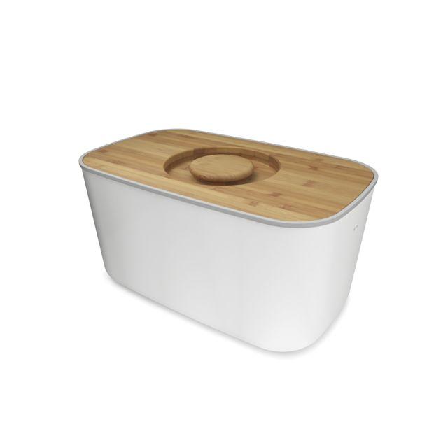 JOSEPH JOSEPH Boîte à pain métal avec planche bambou - Blanc