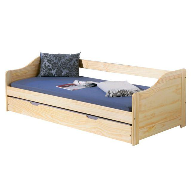 paris prix lit banquette 90x190 tom naturel beige nc pas cher achat vente structures. Black Bedroom Furniture Sets. Home Design Ideas