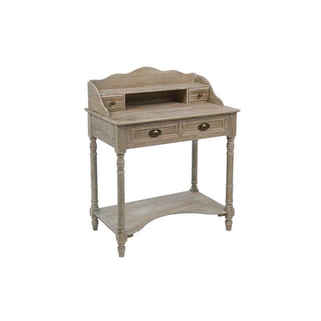 Bureau secrétaire 4 tiroirs en bois vieilli