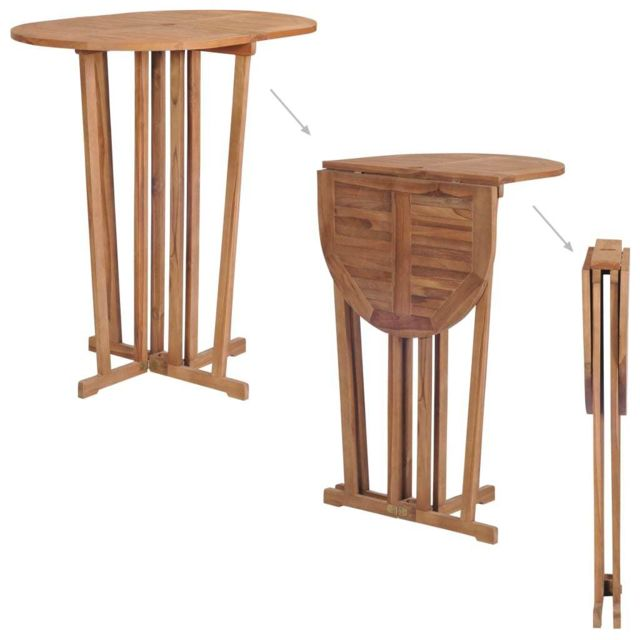 Meubles de jardin edition Libreville Table de bar pliable Bois de teck  massif 100x65x105 cm