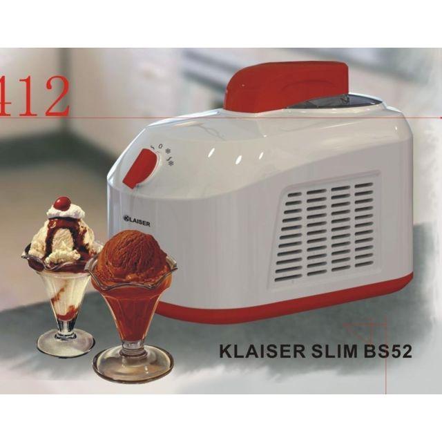 KLAISER SLIM BS52 Sorbetière Turbine à Glaces professionnelle Livré avec Livre de 62 Recettes