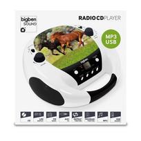 Bigben - Interactive - Lecteur Radio Cd Portable Mp3 Usb blanc, motif cheval