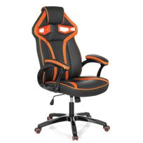Hjh Office - Chaise gaming / Chaise de bureau Guardian simili cuir noir / orange