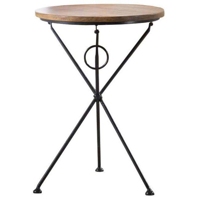 COMFORIUM Table d'appoint pliante en bois massif d'acacia avec pieds pliants en acier 40 x 40 x 60 cm