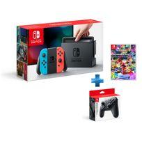 NINTENDO - Console Switch avec un Joy-Con rouge néon et un Joy-Con bleu néon + Mario Kart 8 Deluxe + Manette Switch Pro