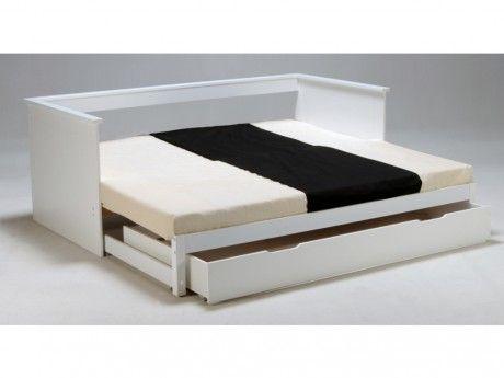marque generique lit gigogne banquette alfio avec rangements 90 x190cm laqu blanc pas. Black Bedroom Furniture Sets. Home Design Ideas