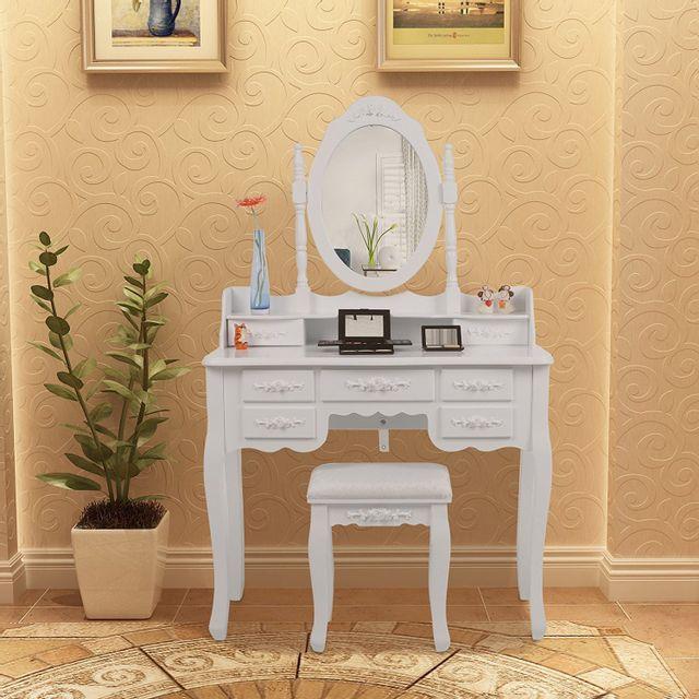 Rocambolesk Superbe Coiffeuse table blanche de maquillage grand commode avec 1 miroirs pivotant à 360°, 7 tiroirs et 1 tabouret Rdt1