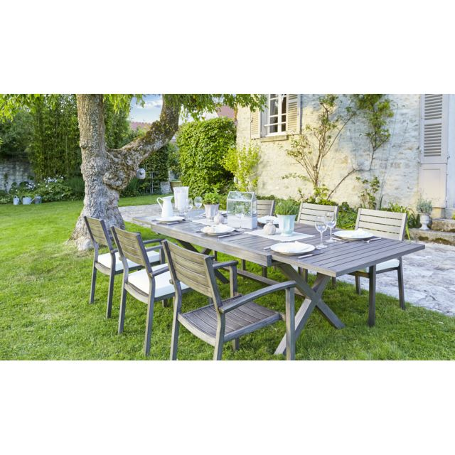 Carrefour ensemble 1 table extensible et 6 chaises de - Table de jardin aluminium extensible carrefour ...