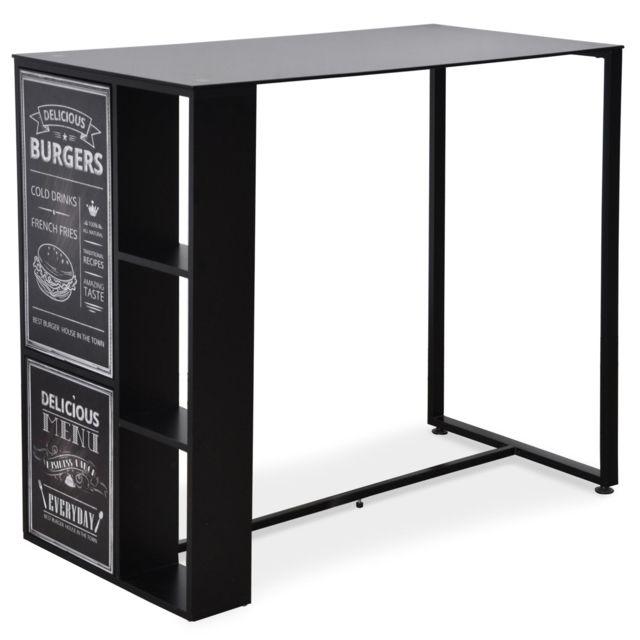 menzzo table haute foodies en verre noir pas cher achat vente meubles tv hi fi. Black Bedroom Furniture Sets. Home Design Ideas