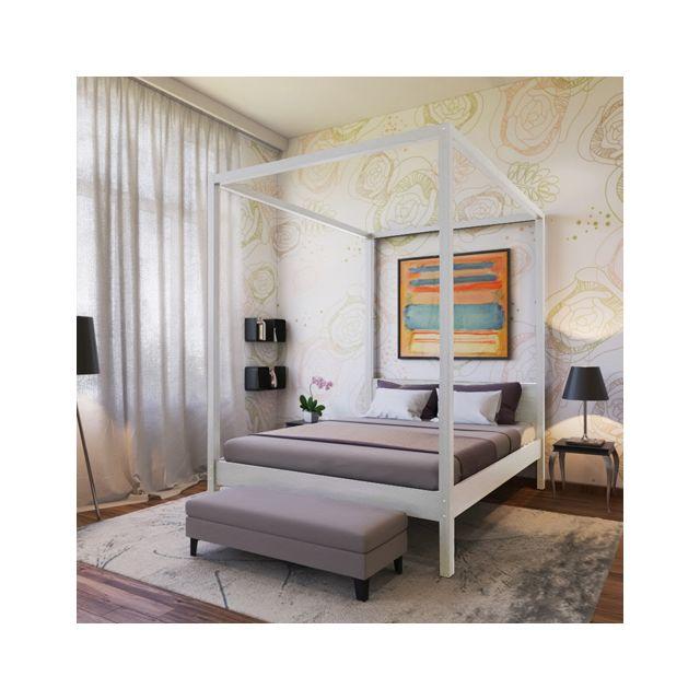 no name lit double baldaquin romance 140x190 blanchi 140cm x 190cm pas cher achat. Black Bedroom Furniture Sets. Home Design Ideas