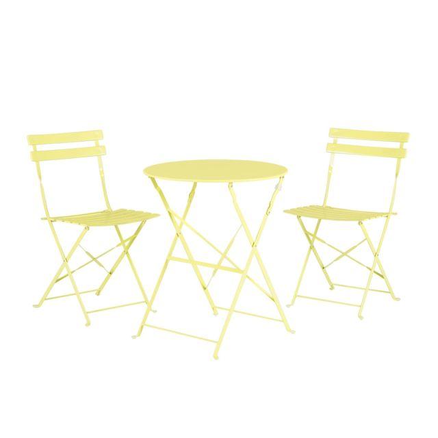 BELIANI Set de terrasse vert citron FIORI