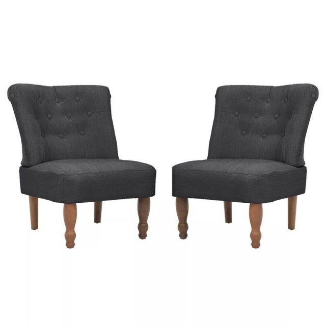 Fauteuil chaise siège lounge design club sofa salon en style français 2 pcs tissu gris 11020272