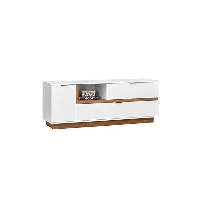 meuble tv 157x59x43cm blanc et bois naturel sebpeche31. Black Bedroom Furniture Sets. Home Design Ideas