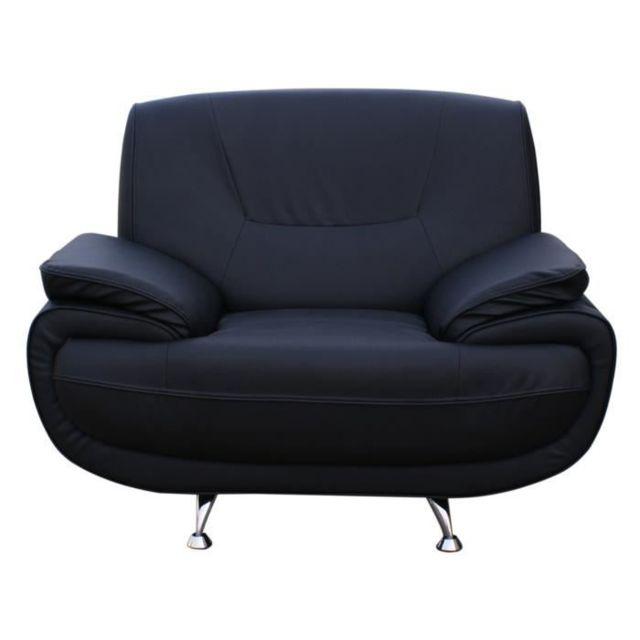FAUTEUIL SPACIO Fauteuil - Simili noir - Contemporain - L 134 x P 86 cm