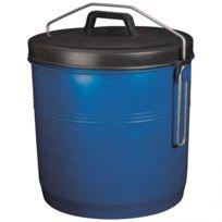 Aluminium Et Plastique - Poubelle à couvercle inséparable - 22 L - bleu
