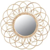 AUBRY GASPARD - Miroir en rotin Fleur