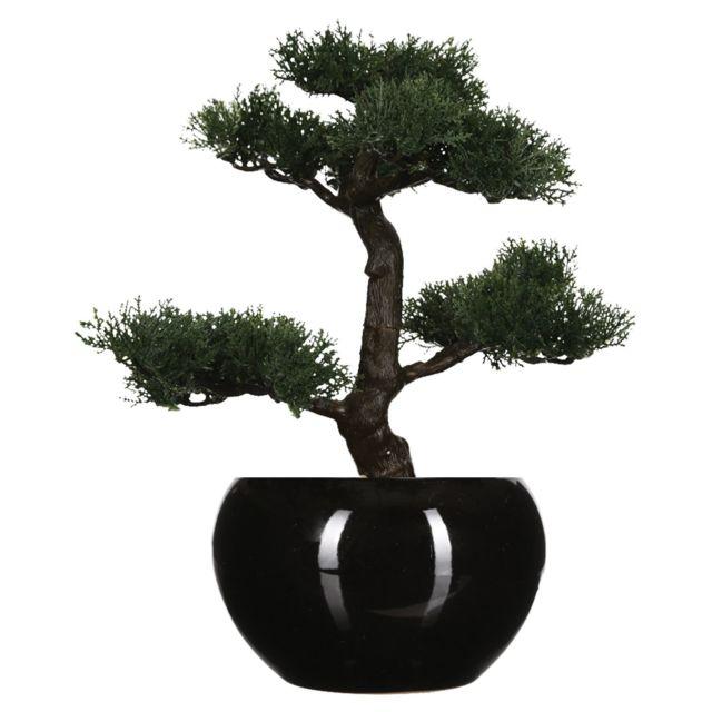 Atmosphera Bonsaï artificiel avec pot - H. 36 cm - Noir