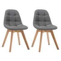 MARQUE GENERIQUE Lot de 4 chaises OLAF Tissu Gris