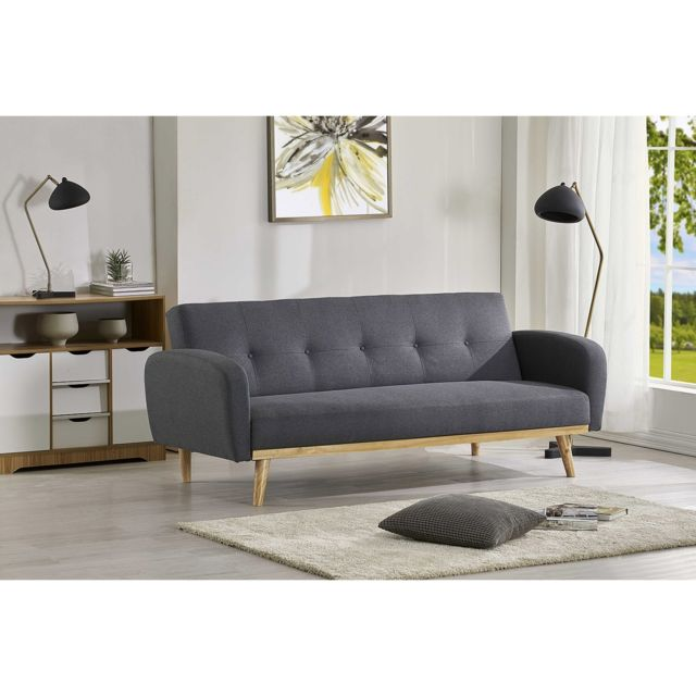 Penza Gris Canape Convertible Scandinave 3 Places