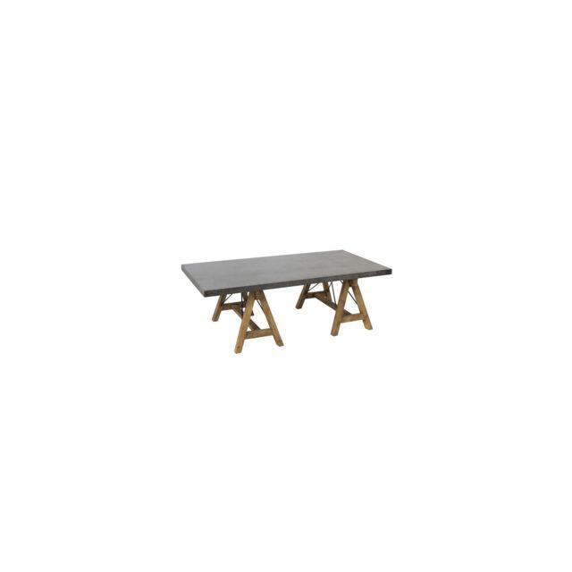 HELLIN Table basse bois naturel et métal - ESCAPE