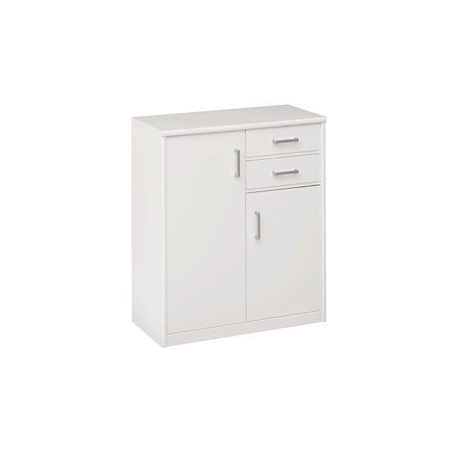 Commode 2 portes 2 tiroirs 72x84x36cm en blanc