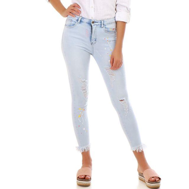 46a4c450874ee Lamodeuse - Jeans bleu clair avec tâches de peinture - pas cher ...